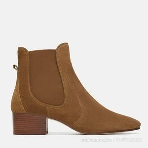 Zara Suede Leather Tan Chelsea Boot 36 37 38 39 42